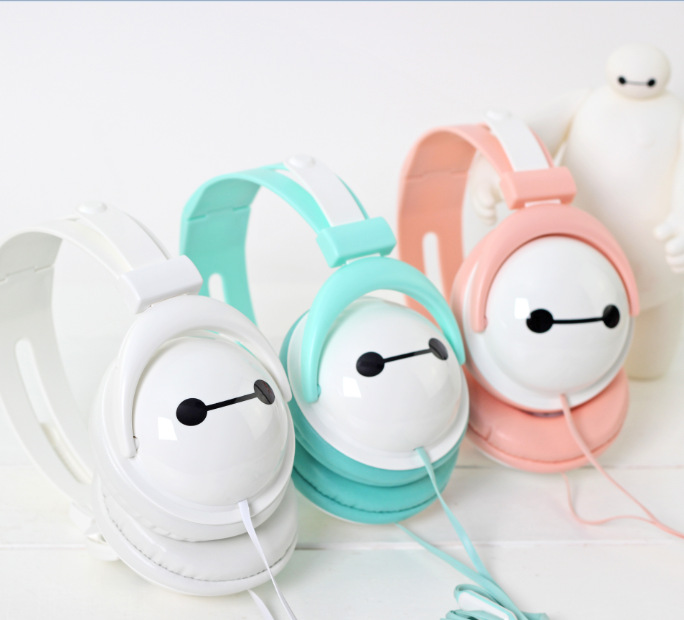 2015 Hot Selling 3.5mm Big Hero 6 Colors Earphone Kids Cartoon Meizu Headphone With Mic Flat Cable In Ear Headset For Cellphone(China (Mainland))