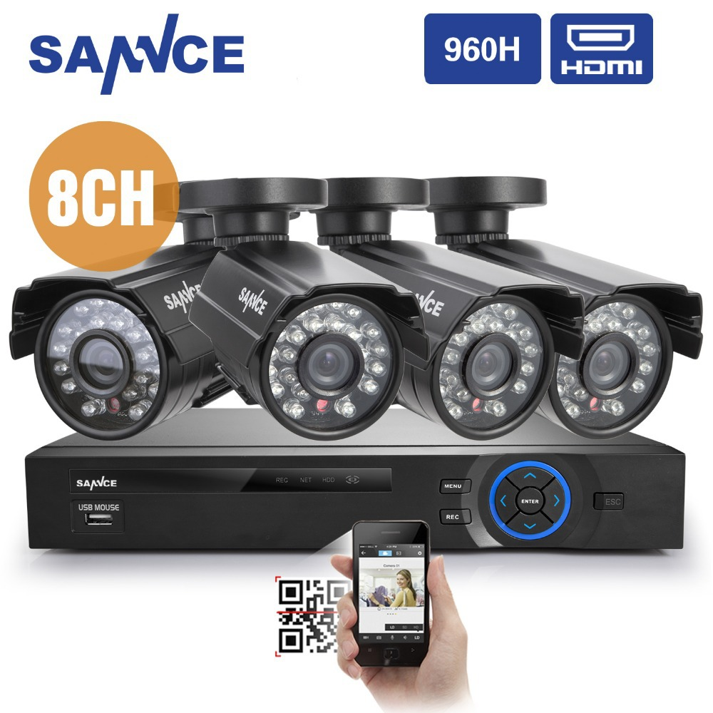SANNCE 8CH HDMI 960H DVR With 4*800TVL IR Cut Night Camera Surveillance Security Camera System(China (Mainland))