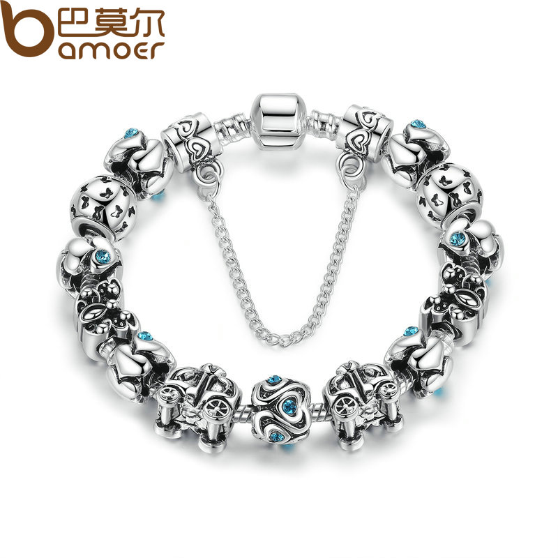 Charms Bracelet with Safety Chain Silver Plated Sapphire Snake Clasp Bracelets Compatible With Pan Jewelry Pulseira A1492(China (Mainland))