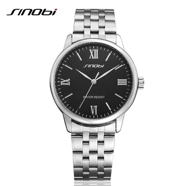 Классический мода мужская полный нержавеющей стали бизнес кварцевые часы платье наручные часы Relogio мужской Relojes Sinobi новых