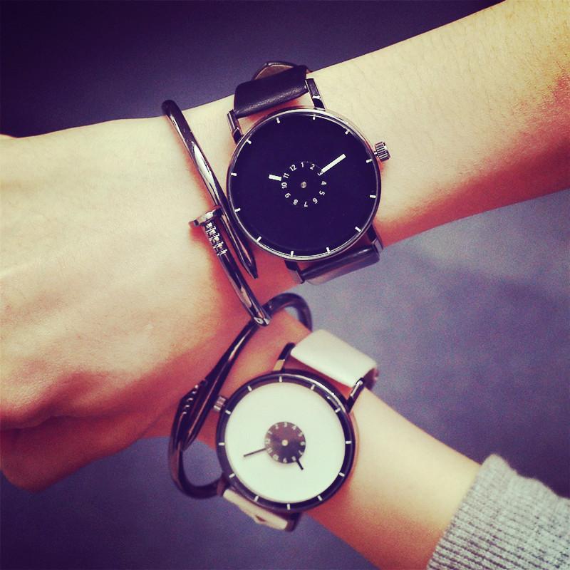 2016 New Fashion Korea Shockproof Black White PU Leather Quartz Watch Wristwatch for Men Women Unisex