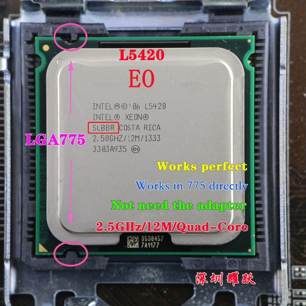 Intel Xeon Processor L5420 SLBBR EO processor CPU/ EO core works on LGA775 mainboard no need adapter 100% normal work(China (Mainland))