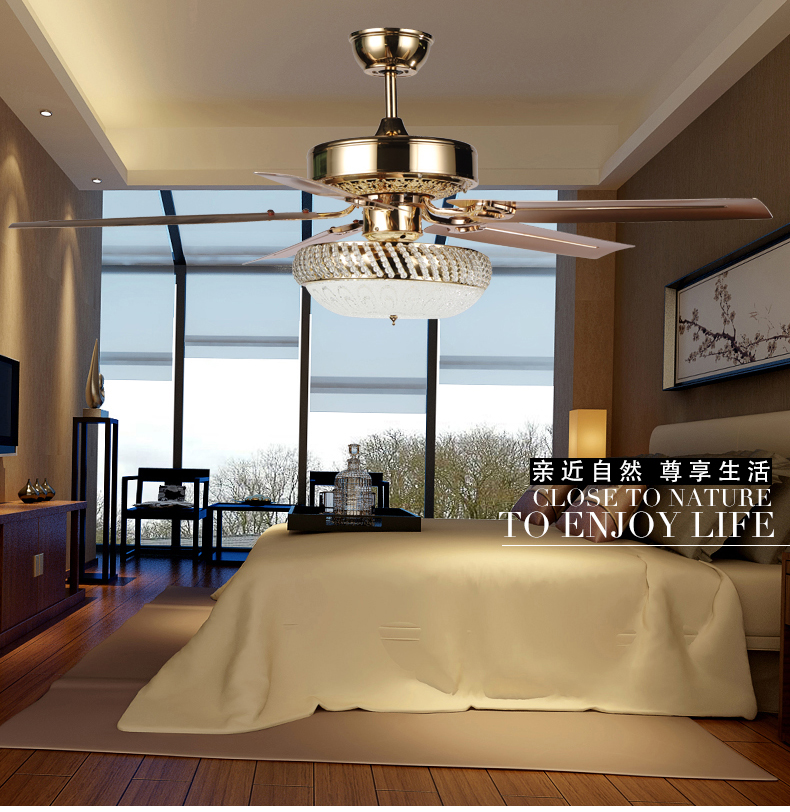 Buy Luxury Decorative Crystal Ceiling Fan Crystal Light Livi