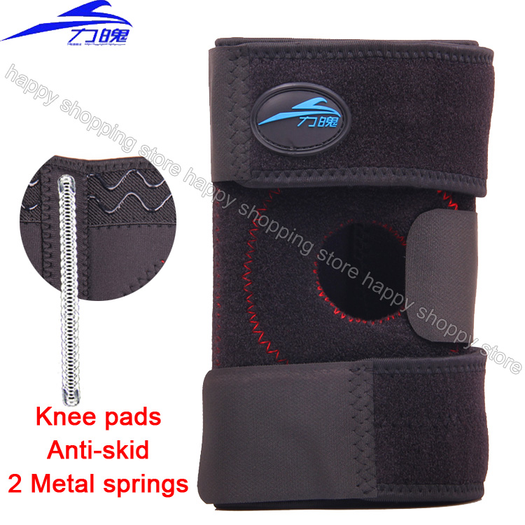 TOP quality Knee brace 2 Spring Anti-skid Knee braces & supports massager pain relief sports basketball Kneecap(China (Mainland))