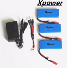 3pcs 7.4V 2500mAh Xpower lipo Battery with Balance Charger and 3-port US Plug Charger Syma X8C X8W X8G RC Quadcopter Adapter