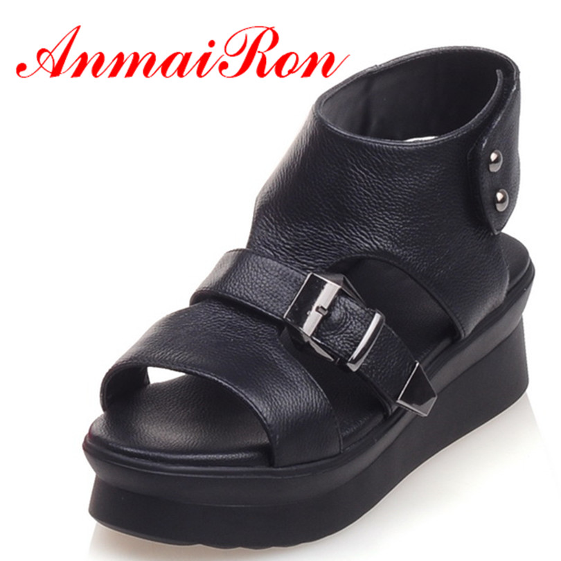 ANMAIRON New Arrival Women Wedges Shoes Full Grain Leather Hot Sandals Shoes 3 Colors Sexy Black Sandals Woman Shoes Size 34-39<br><br>Aliexpress