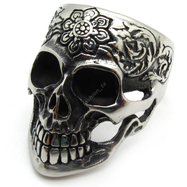PUNK Mens Ring, Jewelry Male Charm Skull Flower Carve Rings 316L Stainless Steel Party Ring Fashion - Guangzhou boxdragon store