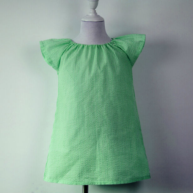 hot sale summer dresses,toddler teenage kids children frock designs girl ruffle daily seersucker dress baby frock designs(China (Mainland))