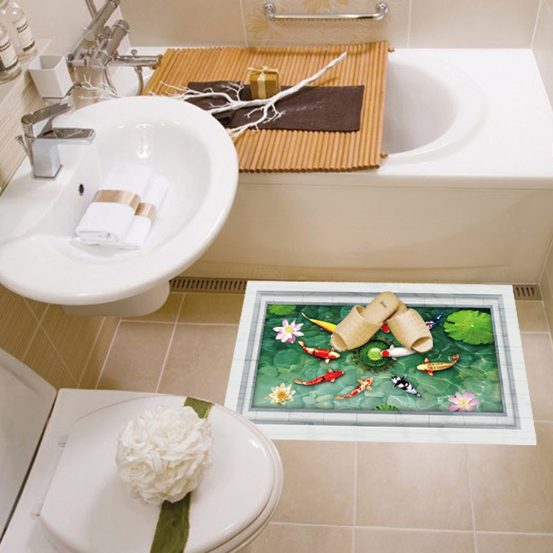 3d Fish Ponds Wall Stickers Kitchen Bathroom Bedroom