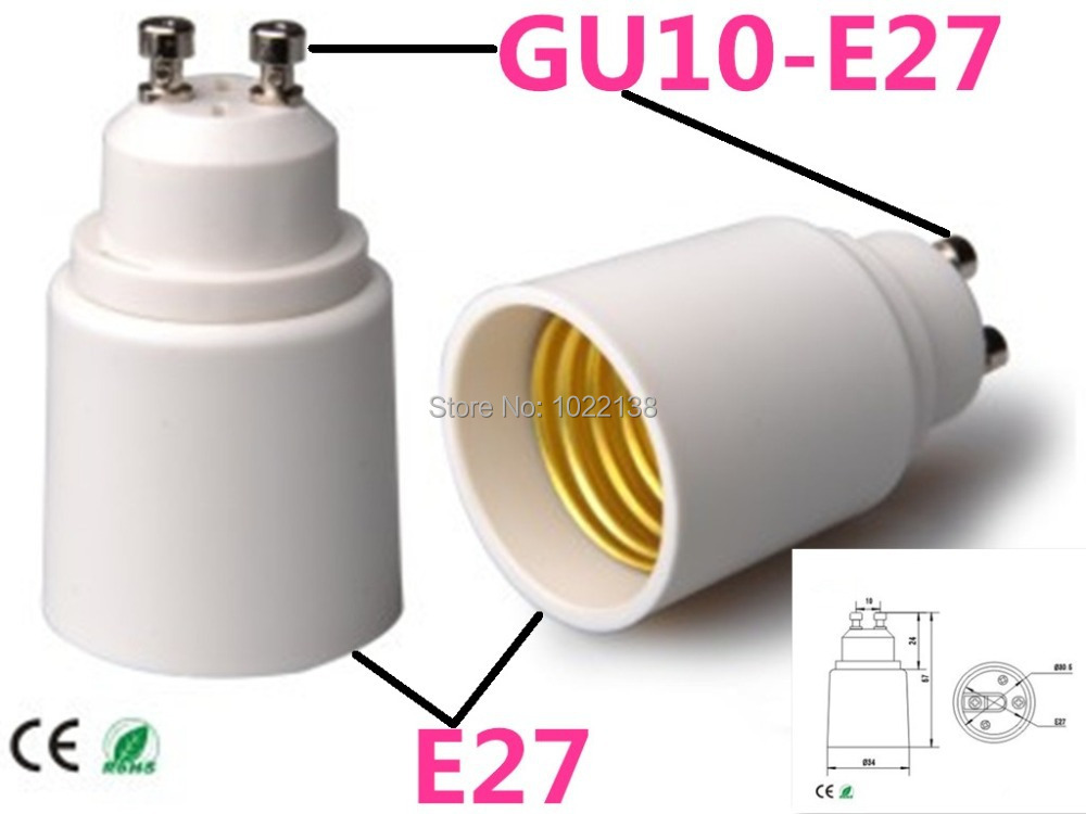 10pcs/lot GU10 to E27 Lamp Base Converter Adapter GU10 to E27 Socket for E27 Light Bulbs(China (Mainland))
