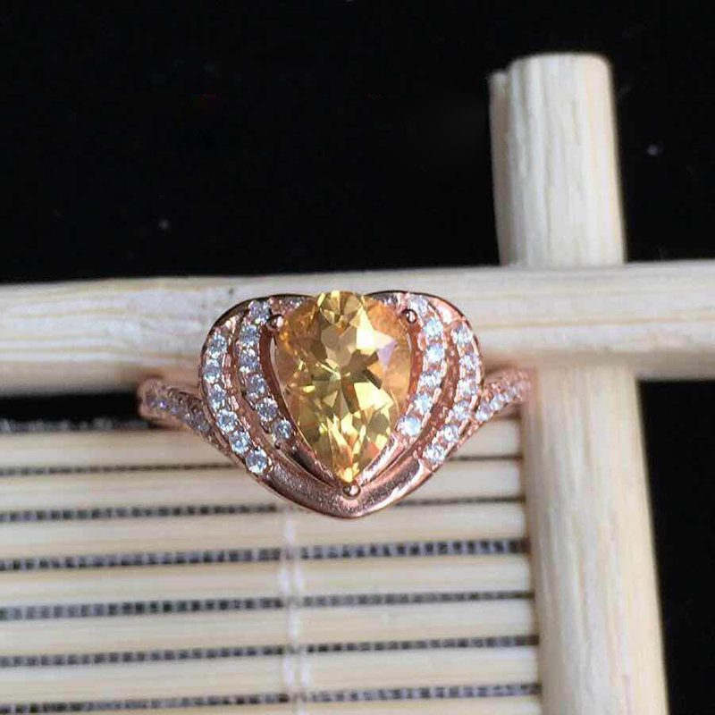 Derongems_Fine Jewelry_Elegant Micro-Paved Natural Citrine Heart Rings_S925 Solid Silver Citrine Ring_Manufacturer Directly Sale(China (Mainland))