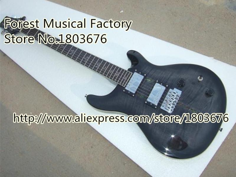 High-quality Gray Tiger Grain PRS Electric Guitar Floyd Rose Tremolo Santana Guitar Body & Kits Custom Available(China (Mainland))