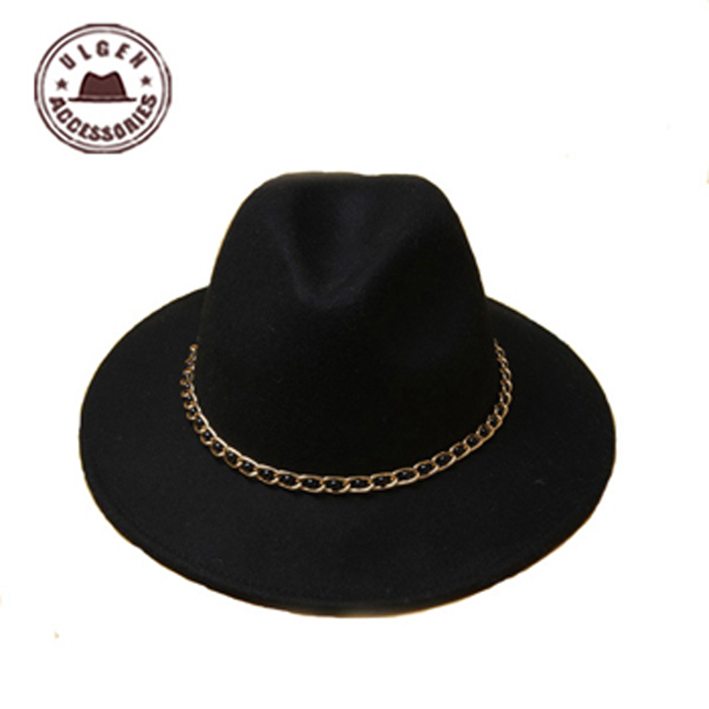 New dome Rolled Pure Wool Large Rims Side Winter women fedora hat Fashion Stetson Hats Fedora! [GEN-718](China (Mainland))