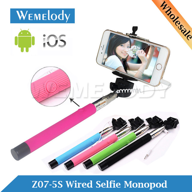 z07 5s cable take pole wired monope mobile phone selfi stick mini mirror selfi stick extensible. Black Bedroom Furniture Sets. Home Design Ideas