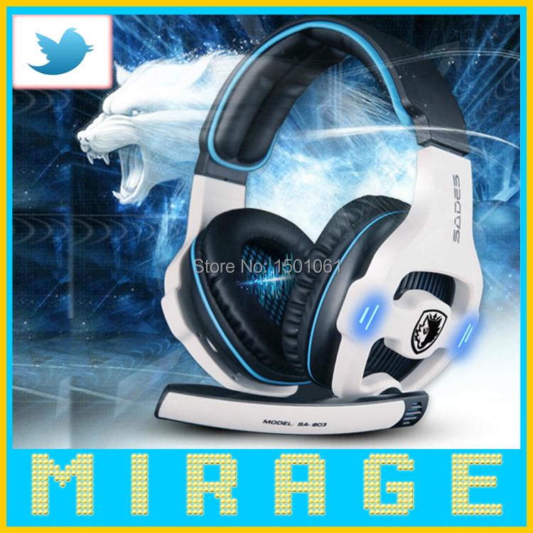 Brand Sades SA-903 Pro Gaming Headset studio headphones 7.1 Surround Sound earphone game Headphone with Microphone for PC Gamer(China (Mainland))