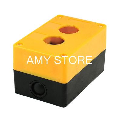 25mm Dia Mounting Hole Orange Black Plastic 2-Button Switch Holder Control Box(China (Mainland))
