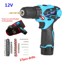 12V lithium electric drill with 27 pcs drills two-speed hand electric screwdriver 1pcs battery Waterproof Portable tool bags