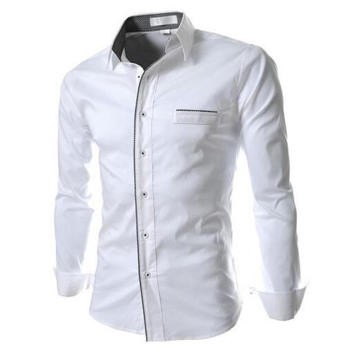 New 2014 Spring Casual Shirt Men Fashion Stand Collar Luxury Trim Design Long-Sleeve Men Slim Fit Shirt(China (Mainland))