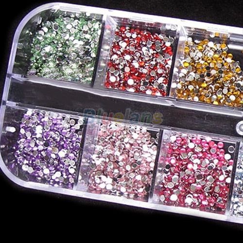500pcs 2mm ROUND RHINSTONES 12 Colors Hard Case NAIL ART Tips Acrylic UV Gel 1FQ4(China (Mainland))