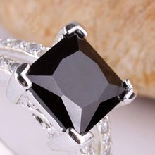 6 Pieces black Onyx Square Stone Silver Fashion Ring