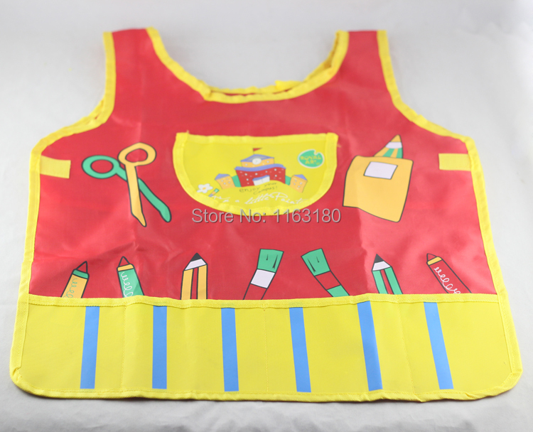2 pcs/lot New Cute Kids Child Children kid Waterproof Apron Cartoon Printed Painting Cooking 3 Pocket Apron()