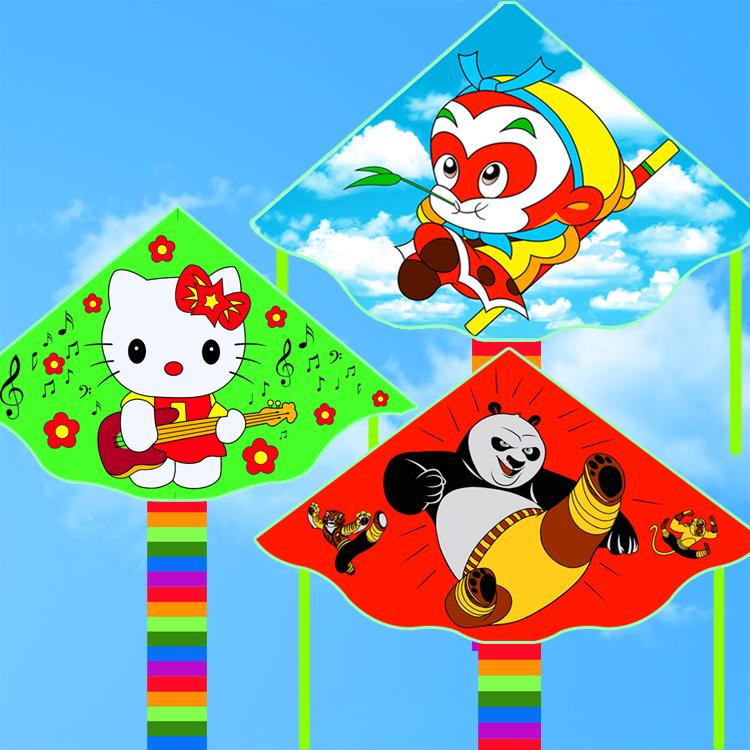 Free shipping high quality kitty kite panda kite 10pcs/lot ripstop nylon fabric kite children kites duck sky lanterns for sale(China (Mainland))