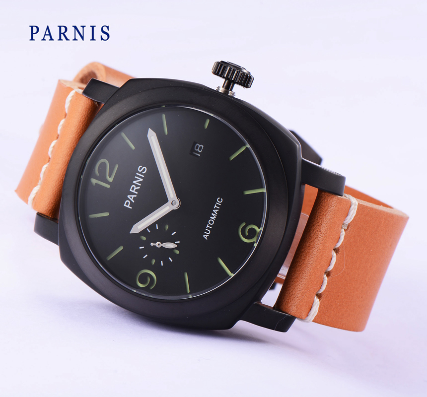 New 45mm Parnis Pvd Case Black Dial Green Mark Sea-gull ST2555 Automatic Watch(China (Mainland))