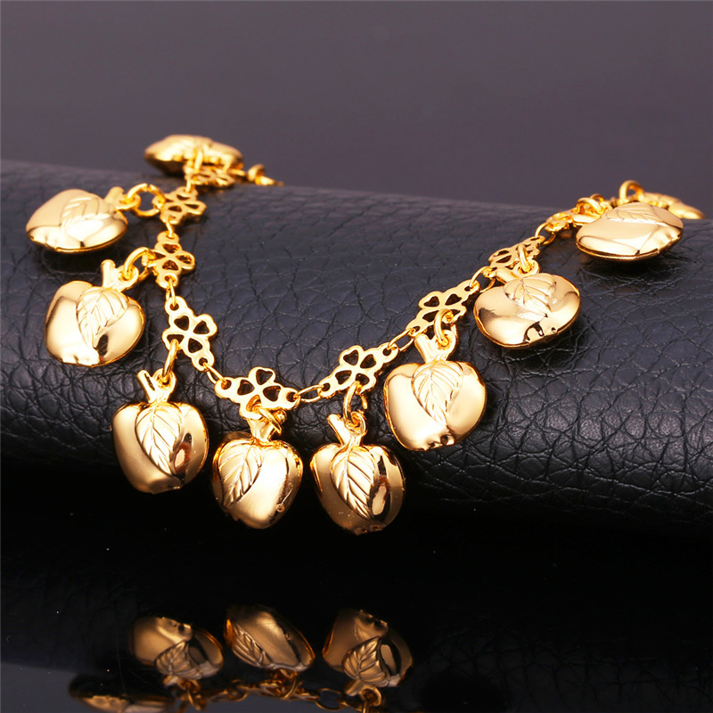 Ankle Bracelet On The Leg Chain 2015 Fashion Jewelry 18K Real Gold Plated Apple Foot Jewelry Anklet For Women Leg Bracelet A713(China (Mainland))