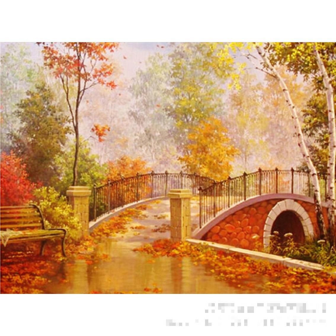 Autumn Bridge Painting Autumn Bridge 5d Diamond