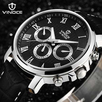 Original Vinoce authentic brand sports han edition kinetic code three men leather waterproof stainless steel quartz watch(China (Mainland))