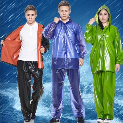 Sale Adults Split Clear Raincoat Set pvc Plastic Rain Coat Pants Men Women Waterproof Motorcycle Rainwear Blue Green Black(China (Mainland))
