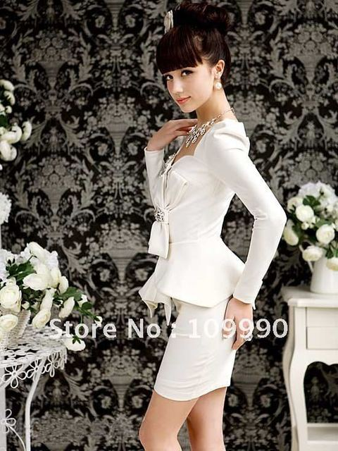 Novelty Summer Autumn 2014 New Ladies Sheath Sexy European and American Style Western Party Women Dress Bow Plus size Diamonds