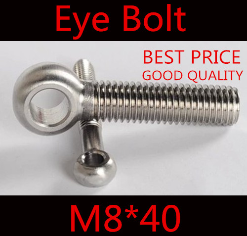 20pcs m8*40  M8 x 40 stainless steel  eye bolt screw,eye nuts and bolts fasterner hardware,stud articulated anchor bolt<br><br>Aliexpress