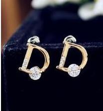 2015 summer fine jewelry Fashion brand letter D zircon stud earrings for women free shippingC1093