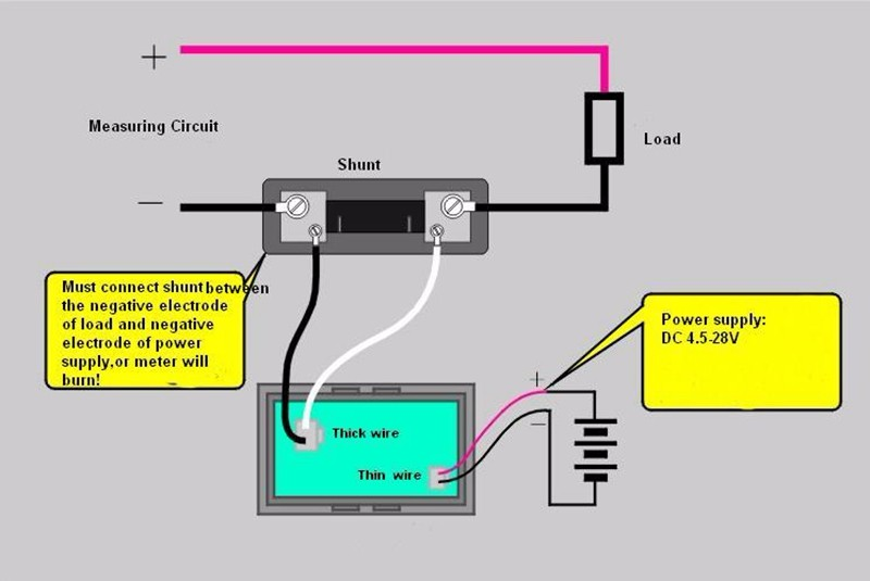 Digital Ammeter Dc 100a 12v 24v With Green Led Display