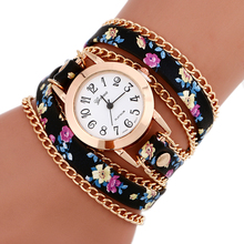 New Fashion watch Hot Flower leather  women watches Weave Wrap Rivet Leather Bracelet wristwatches watch clocks rolej quartz(China (Mainland))