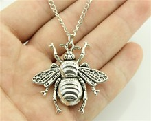 Buy WYSIWYG 2 colors antique bronze, antique silver tone 40*38mm bee pendant necklace, 70cm chain long necklace for $1.18 in AliExpress store
