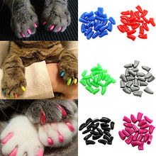 Radient 20Pcs Colorful Soft Rubber Pet Dog Cat Kitten Paw Claw Nail Caps Cover