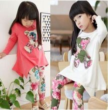 Children clothing Autumn girl dress sleeve T-shirt + leggings flower long dress kids clothes set children's wear casual clothes(China (Mainland))
