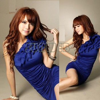 2014 free shipping Womens One Shoulder off Sexy Wrinkle mini milk silk Dress 2 colors 31