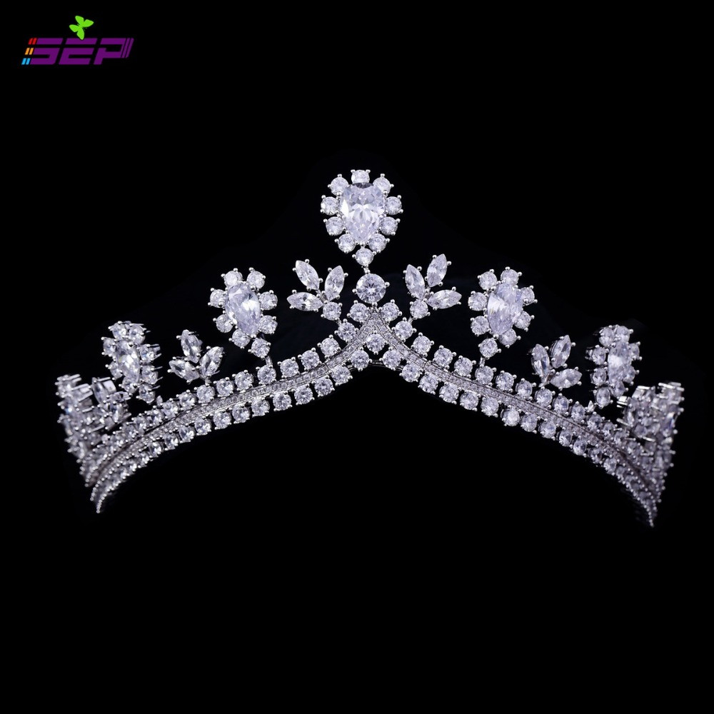 Full AAA CZ Wedding Sparkly Crown Royal Tiara Bridal Hair Accessories Jewelry Birthday Pageant Crowns TR15066(China (Mainland))