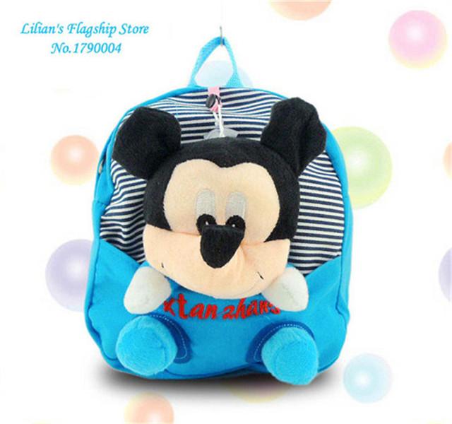 2016 высокое качество микки минни игрушки плюшевые мультфильм узоров рюкзак холст мешок школы подарок для Mochila Infantil