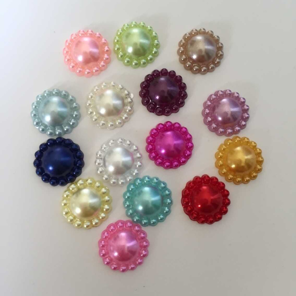 100 pieces lot 12mm mixed half plastic sunflower pearls for Plastic gems for crafts