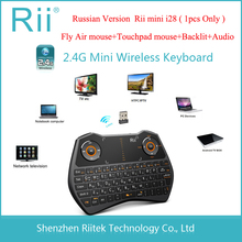 2.4G RF Rii mini i28 Wireless Air mouse keyboard Russian Version Multi-media Touchpad keyboard with Backlit for PC Tablet TV Box
