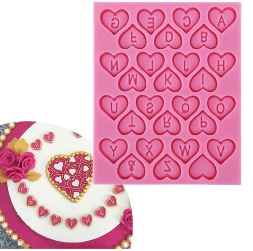 Cake Decorating Sugar Letters : Loving Heart 26 Capital Letters Fondant Mold Silicone Cake ...