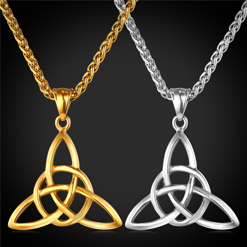 Unique Style Pendant & Necklace Viking Jewelry Gift Vintage Stainless Steel/18K Real Gold Plated Chain Necklace Men/Women GP1812(China (Mainland))