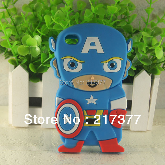 3D Cute The United States Captain Silicon Back Cover Case For Apple iPod Touch 4 /4G Free Shipping(China (Mainland))