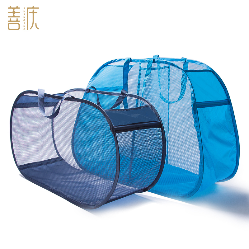 Nylon Net Laundry Basket For Clothes Storage Toys Pop And Foldable Mesh Laundry Hamper Pouch