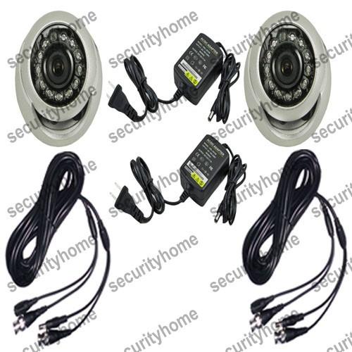 2pcs Outdoor 2.8mm CMOS 600TVL waterproof CCTV IR Dome Camera system+2pcs 5M cable +2pcs 12V1000mA Power supply(China (Mainland))