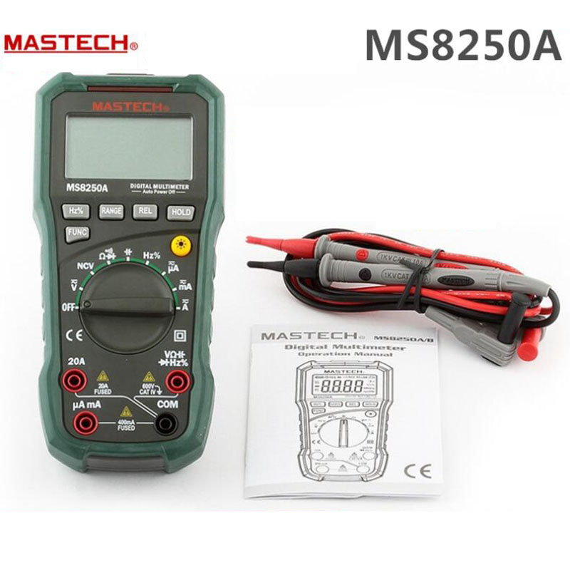1pc Professional MASTECH MS8250A Digital Multimeter For Electrician Capacitance Frequency Meter VS Fluke F17B 15B Multimetro(China (Mainland))